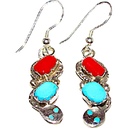 Zuni Sterling Silver Sleeping Beauty Mine Turquoise Coral Snake Dangle Earrings by Highly Collectible Artist Effie Calavaza