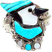 Old Pawn Native American Zuni Sterling Silver Turquoise Jet Mother Of Pearl Inlay Blue Jay Ring Size 7