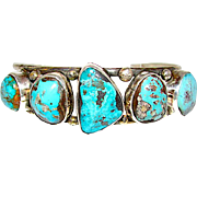 Vintage Navajo Sterling Silver Stormy Mountain Mine Turquoise Cuff Bracelet Large Turquoise Cabochons by Collectible Bert George