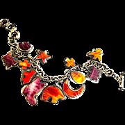 Navajo Sterling Silver Red Orange Purple Spiny Oyster Adjustable Charm Bracelet by Donovan Cadman 65 grams