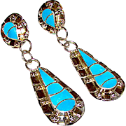 Native American Zuni Sterling Silver Turquoise Inlay Dangle Statement Pierced Earrings by Carmichael Haloo Fish Scale Design