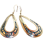 Native American Navajo Sterling Silver Turquoise Inlay Dangle Statement Earrings by Highly Collectible Charlie Singer