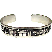 Navajo Lee Thompson Sterling Silver Storyteller Cuff Bracelet Hand Etched Native American Jewelry