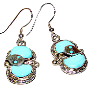 Zuni Sterling Silver Sleeping Beauty Mine Turquoise Snake Dangle Earrings by Highly Collectible Artist Effie Calavaza