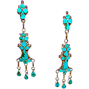 Old Pawn Zuni Sterling Silver Turquoise Inlay Dangle Statement Chandelier Earrings Multi Tier Design