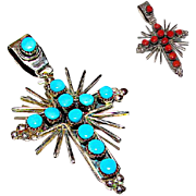Native American Zuni Old Pawn Sterling Silver Mediterranean Coral Sleeping Beauty Mine Turquoise Reversible Cross Pendant