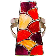 Zuni Sterling Silver Purple Orange Red Spiny Oyster Ring Size 6 Mosaic Inlay Design Ring by Highly Collectible Carmichael Haloo