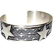 Navajo Sterling Silver Derrick Cadman Cuff Bracelet Hand Etched Design with Stars Contemporary Design
