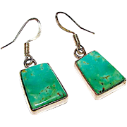 Vintage Native American Navajo Sterling Silver Carico Lake Mine Green Turquoise Pierced Dangle Statement Earrings by Benjamin Piaso