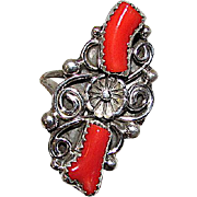 Vintage Native American Navajo Sterling Silver Mediterranean Branch Coral Statement Ring Size 7 Squash Blossom Design