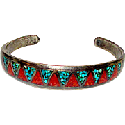 Old Pawn Navajo Sterling Silver 925 Turquoise Coral Chip Inlay Hand Etched Design Cuff Bracelet
