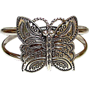 Native American Navajo Melvin Francis Butterfly Sterling Silver Cuff Bracelet
