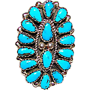 Navajo Eric Wilson Sterling Silver Kingman Turquoise Cluster Statement Ring 7.5