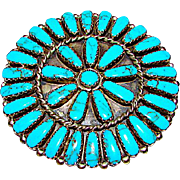 Navajo Sterling Silver Turquoise Rosette Cluster Brooch Pin Pendant Highly Collectible Marc Begay