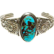 Old Pawn Native American Navajo Sterling Silver Bisbee Mine Turquoise Cuff Bracelet Hand Etched Ornate Design 35gr