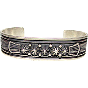 Native American Navajo Sterling Silver Brushed Finish Statement Cuff Bracelet with Hand Etched Design Highly Collectible G Natan 30 grams