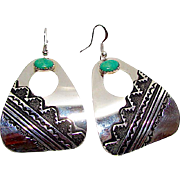 Native American Navajo TOMMY SINGER Sterling Silver Carico Lake Green Turquoise Statement Dangle Earrings Tribal Design