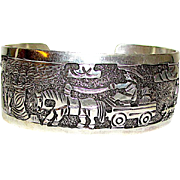 Native American Navajo Sterling Silver Storyteller Statement Cuff Bracelet Hand Etched Native American Jewelry by Collectible Elaine Becenti