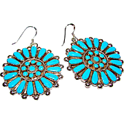 Vintage Zuni Sterling Silver Turquoise Pierced Dangle Statement Earrings Cluster Rosette Design