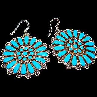 Vintage Zuni Sterling Silver Turquoise Pierced Dangle Statement Earrings Cluster Rosette Design
