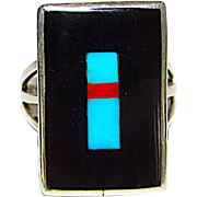 Native American Zuni Sterling Silver Sleeping Beauty Turquoise Mediterranean Coral Black Onyx Jet Inlay Ring in Size 8 by Harlan Coonsis