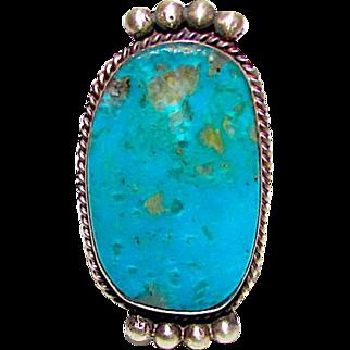 Navajo Selena Warner Sterling Silver Bisbee Mine Turquoise Statement Ring Sz 8.5