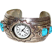 Vintage Old Pawn Native American Navajo Sterling Silver Kingman Turquoise Watch Cuff Bracelet Tribal Navajo Design 67 GR
