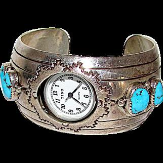 Vintage Old Pawn Native American Navajo Sterling Silver Kingman Turquoise Watch Cuff Bracelet Tribal Navajo Design 67 GR