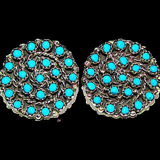Zuni Peter Haloo Sterling Silver Sleeping Beauty Turquoise Rosette Cluster Pierced Post Earrings Snake Eye Design