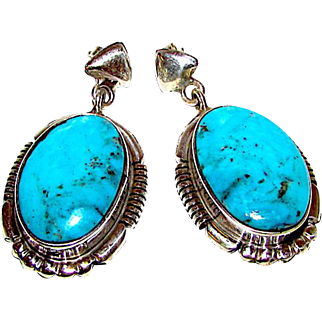 Navajo Sterling Silver Pilot Mountain Turquoise Pierced Dangle Statement Earrings by Highly Collectible Melvin Francis Arrowhead Design