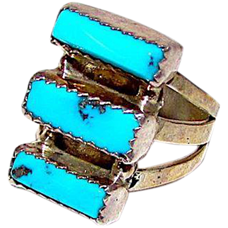 Old Pawn Native American Navajo Sterling Kingman Mine Turquoise Ring Size 6.5