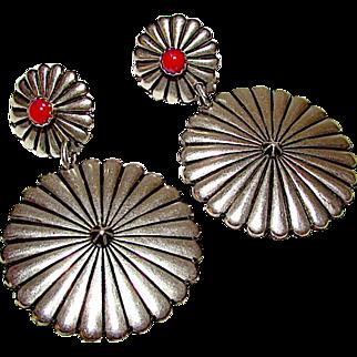 Native American Navajo Sterling Silver Coral Concho Design Pierced Dangle Statement Earrings