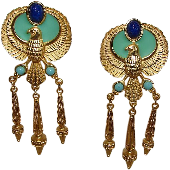 Elizabeth Taylor For Avon Egyptian Revival Cleopatra Earrings Gold Sold Ruby Lane