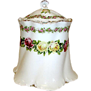 Antique Victorian RC Versailles Bavaria Porcelain Cookie Cracker Biscuit Jar Canister