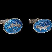 Siam Sterling Silver Blue Enamel Cufflinks