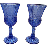 Fostoria Cobalt Blue Avon Vintage Pair of Goblets Glasses Stemware George & Martha Washington Cameo