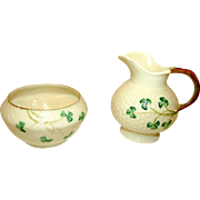 BELLEEK Shamrock Open Sugar & Creamer Set Luster 3rd Green Mark (1965-80)