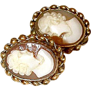 Vintage Carved Shell 12K GF Screw Back Cameo Earrings