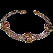 Art Deco Sterling Silver 925 Mesh Bracelet Vermeil Tribal Design Accents
