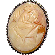 Antique 800 Silver Victorian Artemis Diana Greek Goddess Large Hand Carved Shell Cameo Brooch Pin Pendant