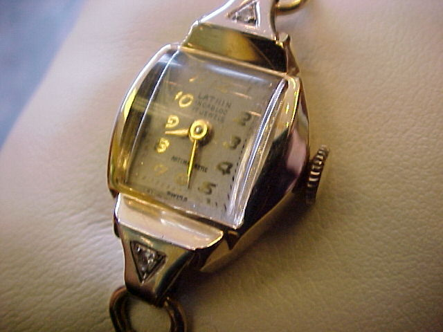 Lathin (Waltham) Ladies 14K Watch with Diamonds, 1940's 17 jewel