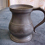 English Pewter Quart Measure Tankard, James Yates 1825-50