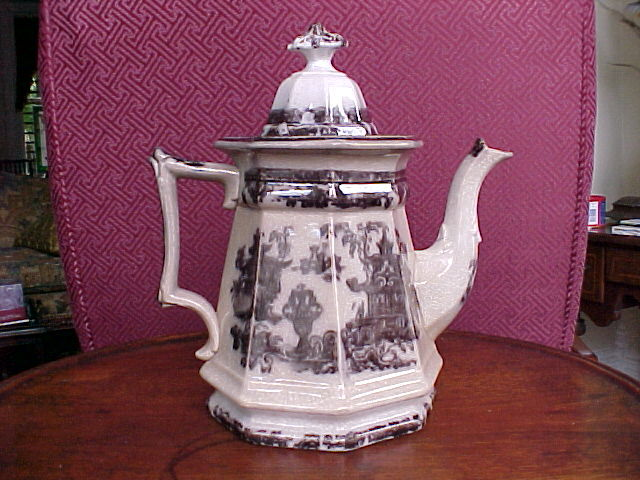 Antique English Staffordshire Teapot Black Transferware 1834-59