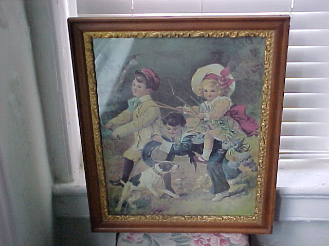 German Children & Dog at Play,  Framed Chromolithograph 1890