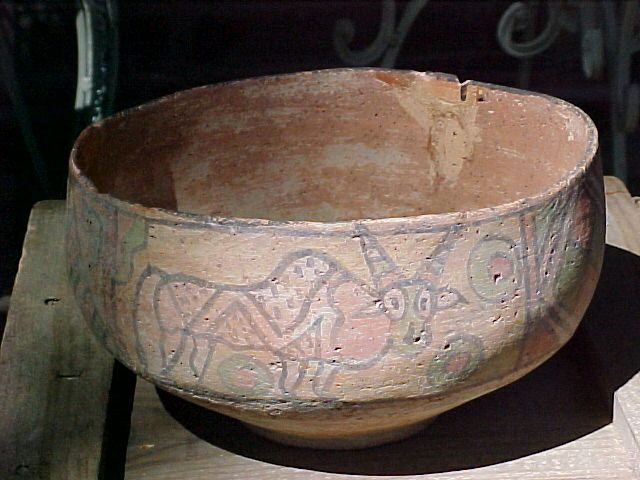Large Bronze Age Herrapan Decorated Bowl 3000-2000B.C. Pakistan Colorful Polychrome Animals & Designs