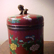 Japanese Cloisonne Humidor Meiji Period Fu Dog Knob C.1900