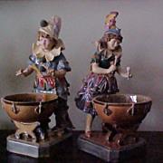 Rare Pair  Majolica Drummers C.1890 Bros, Urbach, Austria