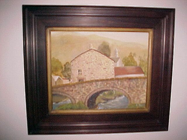 Oil Painting German Village, Signed, Vintage