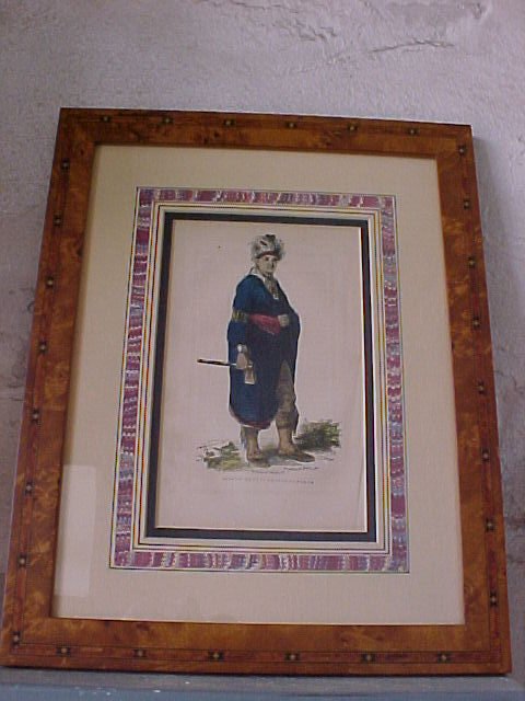 Joseph Brant Mohawk Chief Framed Engraving 1857