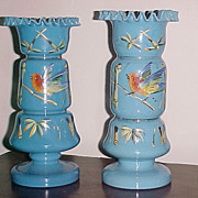 Pair of Bristol Glass Vases French Blue C. 1870